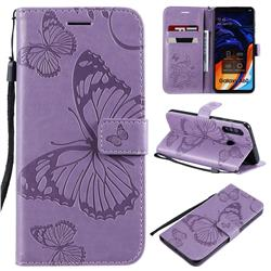 Embossing 3D Butterfly Leather Wallet Case for Samsung Galaxy A60 - Purple