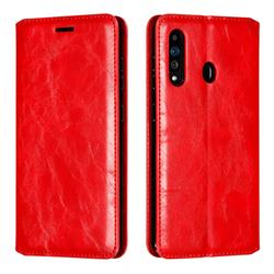 Retro Slim Magnetic Crazy Horse PU Leather Wallet Case for Samsung Galaxy A60 - Red