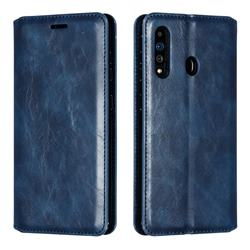 Retro Slim Magnetic Crazy Horse PU Leather Wallet Case for Samsung Galaxy A60 - Blue