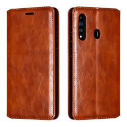 Retro Slim Magnetic Crazy Horse PU Leather Wallet Case for Samsung Galaxy A60 - Brown