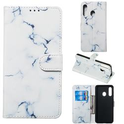 Soft White Marble PU Leather Wallet Case for Samsung Galaxy A60