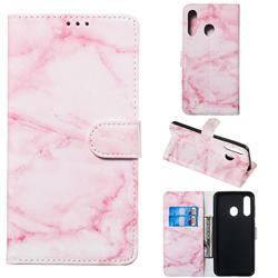 Pink Marble PU Leather Wallet Case for Samsung Galaxy A60