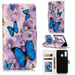 Purple Flowers Butterfly 3D Relief Oil PU Leather Wallet Case for Samsung Galaxy A60