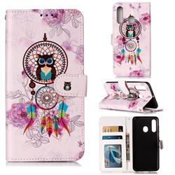 Wind Chimes Owl 3D Relief Oil PU Leather Wallet Case for Samsung Galaxy A60