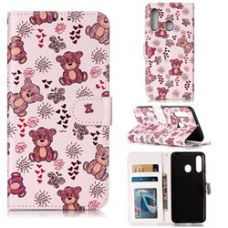 Cute Bear 3D Relief Oil PU Leather Wallet Case for Samsung Galaxy A60