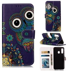 Folk Owl 3D Relief Oil PU Leather Wallet Case for Samsung Galaxy A60