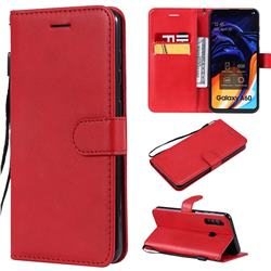 Retro Greek Classic Smooth PU Leather Wallet Phone Case for Samsung Galaxy A60 - Red