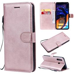 Retro Greek Classic Smooth PU Leather Wallet Phone Case for Samsung Galaxy A60 - Rose Gold