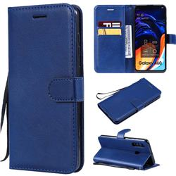 Retro Greek Classic Smooth PU Leather Wallet Phone Case for Samsung Galaxy A60 - Blue
