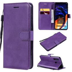 Retro Greek Classic Smooth PU Leather Wallet Phone Case for Samsung Galaxy A60 - Purple