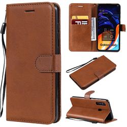 Retro Greek Classic Smooth PU Leather Wallet Phone Case for Samsung Galaxy A60 - Brown