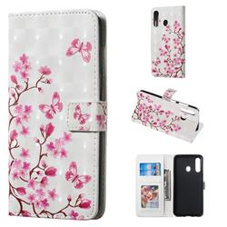 Butterfly Sakura Flower 3D Painted Leather Phone Wallet Case for Samsung Galaxy A60