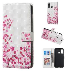 Cherry Blossom 3D Painted Leather Phone Wallet Case for Samsung Galaxy A60