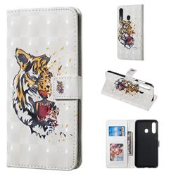 Toothed Tiger 3D Painted Leather Phone Wallet Case for Samsung Galaxy A60