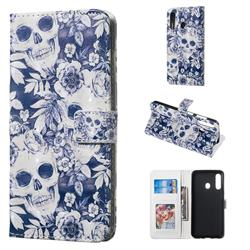Skull Flower 3D Painted Leather Phone Wallet Case for Samsung Galaxy A60