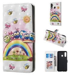 Rainbow Owl Family 3D Painted Leather Phone Wallet Case for Samsung Galaxy A60
