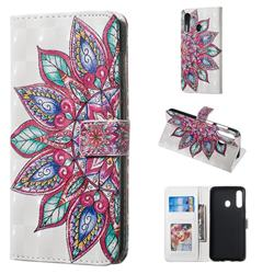Mandara Flower 3D Painted Leather Phone Wallet Case for Samsung Galaxy A60