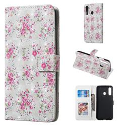 Roses Flower 3D Painted Leather Phone Wallet Case for Samsung Galaxy A60