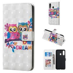 Couple Owl 3D Painted Leather Phone Wallet Case for Samsung Galaxy A60
