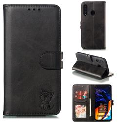 Embossing Happy Cat Leather Wallet Case for Samsung Galaxy A60 - Black