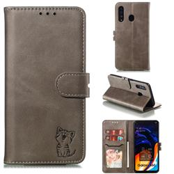 Embossing Happy Cat Leather Wallet Case for Samsung Galaxy A60 - Gray