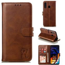 Embossing Happy Cat Leather Wallet Case for Samsung Galaxy A60 - Brown