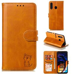 Embossing Happy Cat Leather Wallet Case for Samsung Galaxy A60 - Yellow