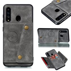 Retro Multifunction Card Slots Stand Leather Coated Phone Back Cover for Samsung Galaxy A60 - Gray