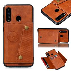 Retro Multifunction Card Slots Stand Leather Coated Phone Back Cover for Samsung Galaxy A60 - Brown