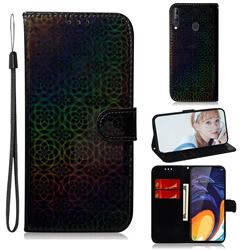Laser Circle Shining Leather Wallet Phone Case for Samsung Galaxy A60 - Black