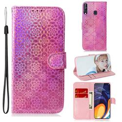 Laser Circle Shining Leather Wallet Phone Case for Samsung Galaxy A60 - Pink