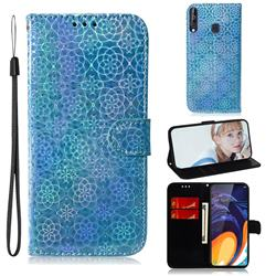 Laser Circle Shining Leather Wallet Phone Case for Samsung Galaxy A60 - Blue