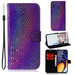 Laser Circle Shining Leather Wallet Phone Case for Samsung Galaxy A60 - Purple