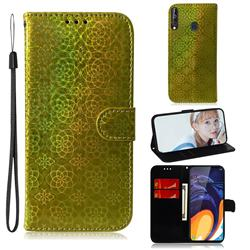Laser Circle Shining Leather Wallet Phone Case for Samsung Galaxy A60 - Golden