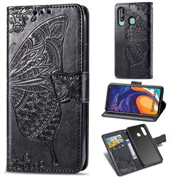 Embossing Mandala Flower Butterfly Leather Wallet Case for Samsung Galaxy A60 - Black