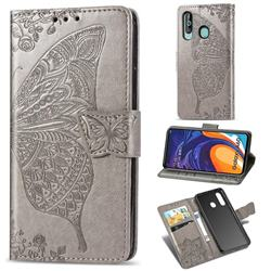 Embossing Mandala Flower Butterfly Leather Wallet Case for Samsung Galaxy A60 - Gray