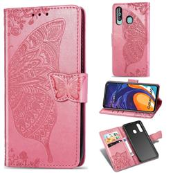 Embossing Mandala Flower Butterfly Leather Wallet Case for Samsung Galaxy A60 - Pink
