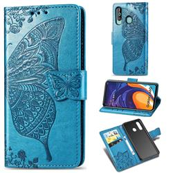 Embossing Mandala Flower Butterfly Leather Wallet Case for Samsung Galaxy A60 - Blue