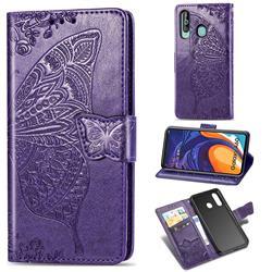Embossing Mandala Flower Butterfly Leather Wallet Case for Samsung Galaxy A60 - Dark Purple