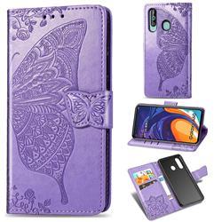 Embossing Mandala Flower Butterfly Leather Wallet Case for Samsung Galaxy A60 - Light Purple
