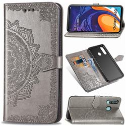 Embossing Imprint Mandala Flower Leather Wallet Case for Samsung Galaxy A60 - Gray