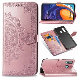 Embossing Imprint Mandala Flower Leather Wallet Case for Samsung Galaxy A60 - Rose Gold