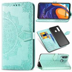 Embossing Imprint Mandala Flower Leather Wallet Case for Samsung Galaxy A60 - Green