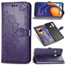 Embossing Imprint Mandala Flower Leather Wallet Case for Samsung Galaxy A60 - Purple