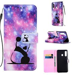 Panda Baby Matte Leather Wallet Phone Case for Samsung Galaxy A60