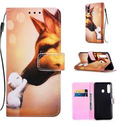 Hound Kiss Matte Leather Wallet Phone Case for Samsung Galaxy A60