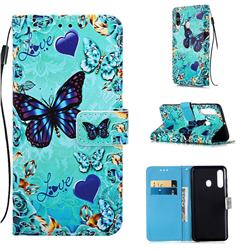Love Butterfly Matte Leather Wallet Phone Case for Samsung Galaxy A60