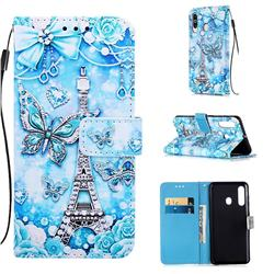 Tower Butterfly Matte Leather Wallet Phone Case for Samsung Galaxy A60