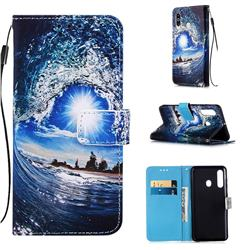 Waves and Sun Matte Leather Wallet Phone Case for Samsung Galaxy A60