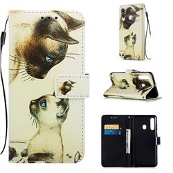 Cat Confrontation Matte Leather Wallet Phone Case for Samsung Galaxy A60